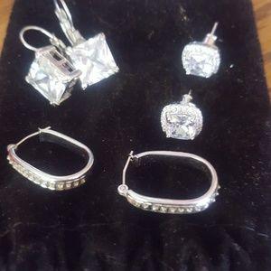 Diamond and crystal earing set